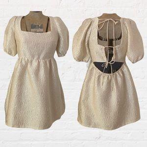 Lulus Cream Taffeta Puff Sleeve Hi Low Mini Dress